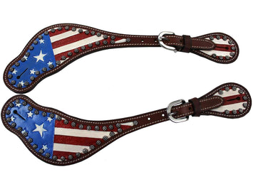 Tahoe American Flag Leather Spur Straps with Sunspots Pair