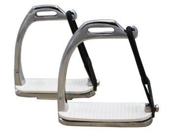 Derby Originals Stainless Steel Weighted Peacock Safety Stirrup Fillis Irons with Rubber Pads