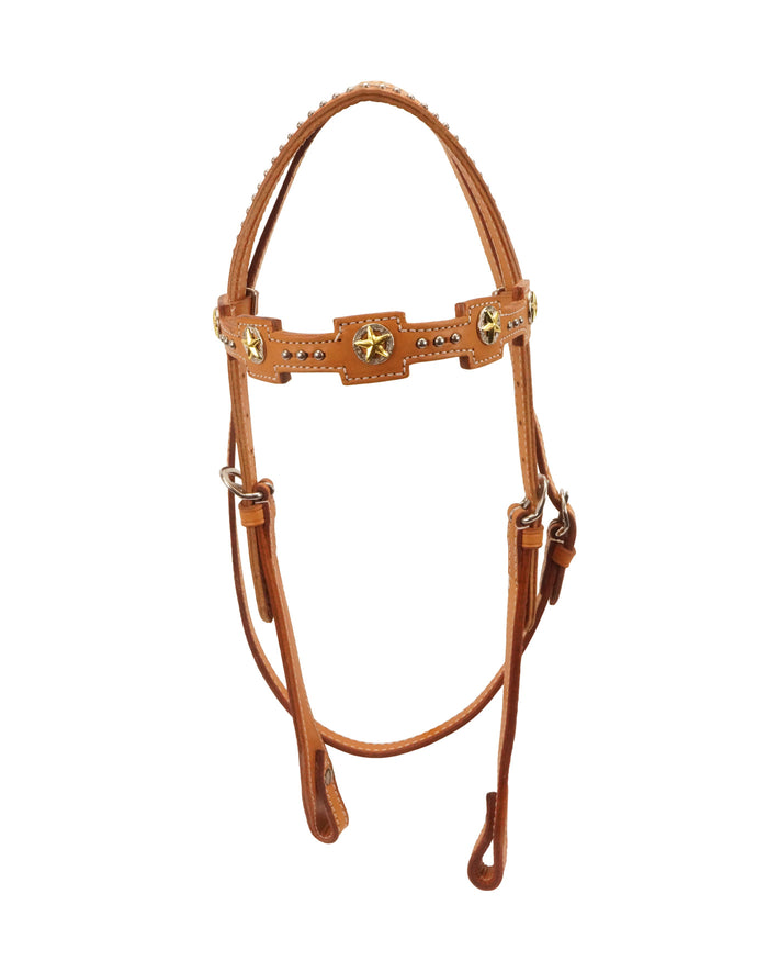 Tahoe Tack USA Leather Kickin' Country Gold Star Concho Western Headstall