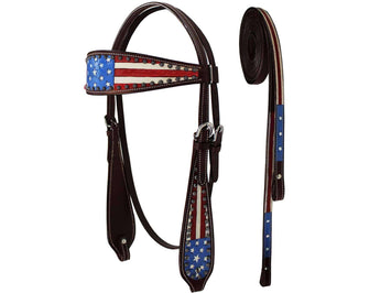 Tahoe Patriotic American Flag Browband Headstall with Reins - Tack Wholesale