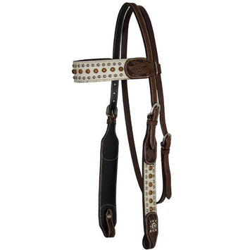 Tahoe Hair-On Western Headstall With Copper Sunspots & Silver Spots - Tack Wholesale