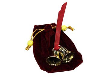 Dual Solid Brass Sleigh Bells with Velvet Gift Bag Super Sale - Tack Wholesale