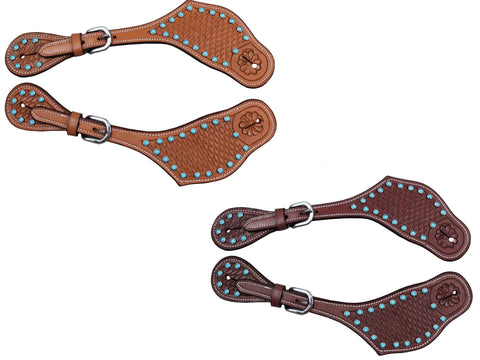 Tahoe Basket Tooled Leather Western Spur Straps with Turquoise Spots
