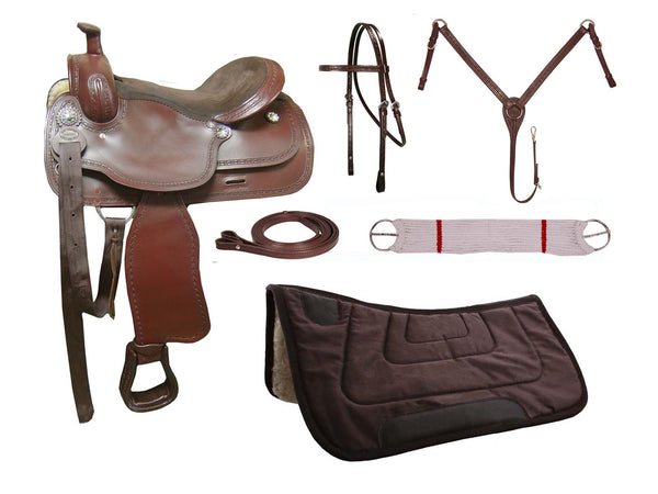 Tahoe Barbwire Tooled Leather Trail Saddle Set 6 Items Closeout