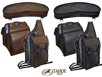 Synthetic Leather Saddle Bags Set 3 Items for Trail Riding