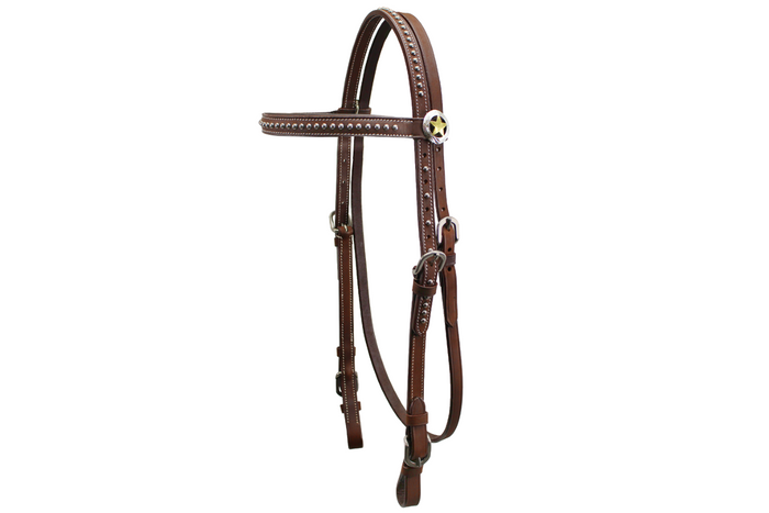 Tahoe Tack Silver Texas Star Leather Western Horse Browband Headstall with Buckle Bit Ends