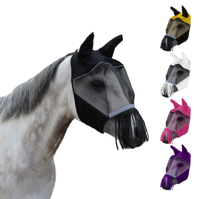 Derby Originals UV-Blocker Premium Reflective Safety Horse Fly Mask with Ears and Nose Fringe with One Year Warranty