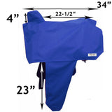 Tahoe Premium Heavy Duty Nylon Waterproof Western Saddle Cover with Six Elastic Holding Straps and Stirrup Covers - Fits Most Saddle Sizes and Types