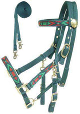 Derby Padded Nylon Halter Bridle Combo with Reins Aztec Overlay - Tack Wholesale