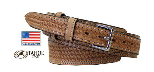 Ranger Basket Weave USA Leather Western Belt with 3/4