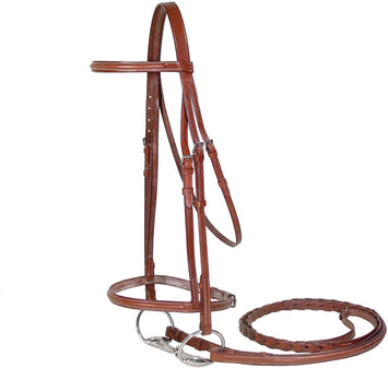 Paris Tack Raised Fancy Stitch Leather English Schooling Bridle with Laced Reins and 1 Year Warranty