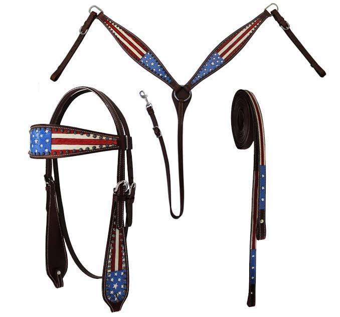 Tahoe Tack Patriotic American Flag Tack Set with Matching Headstall, Reins, and Breastcollar