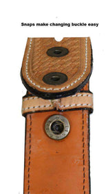 "Tapered USA Leather Basket Tooled Western Belt with 1"" Buckle - Tack Wholesale"