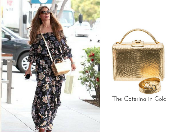 Sofia Vergara heads to spa in Ximena Kavalekas gold python handbag