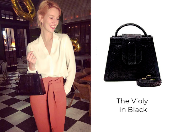 Yael Grobglas with XK Violy Bag