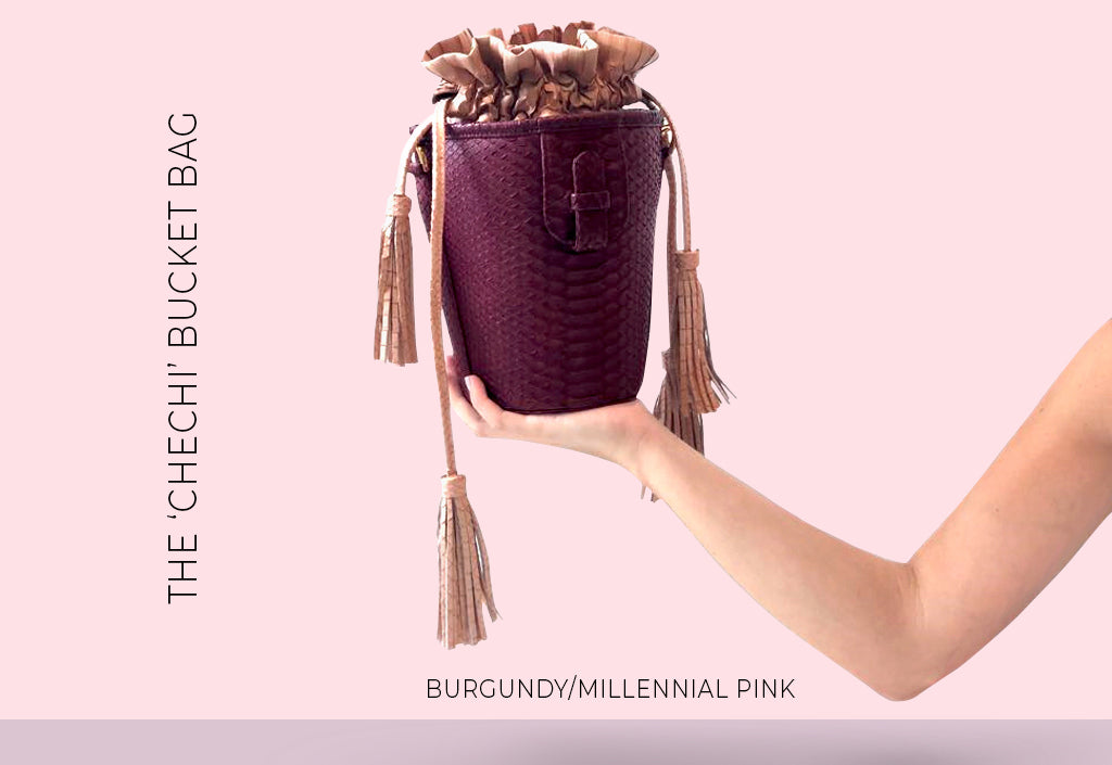 XIMENA KAVALEKAS FALL WINTER 2018 CHECHI BUCKET BAG BURGUNDY MILLENNIAL PINK