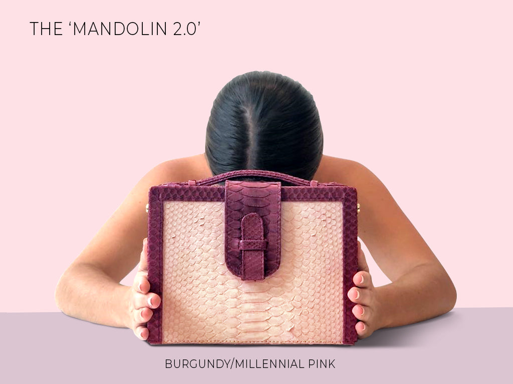 XIMENA KAVALEKAS FALL WINTER 2018 MANDOLIN 2.0 BOX BAG MILLENNIAL PINK/BURGUNDY