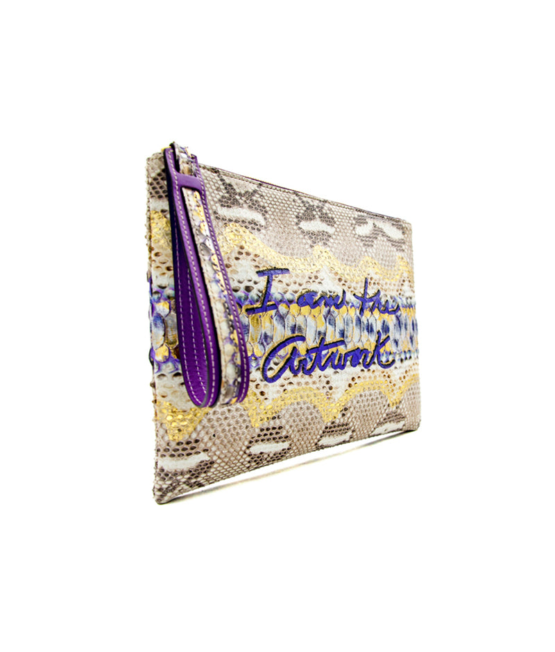 "Avra Zip Pouch - Royal Purple "" I am the Artwork """