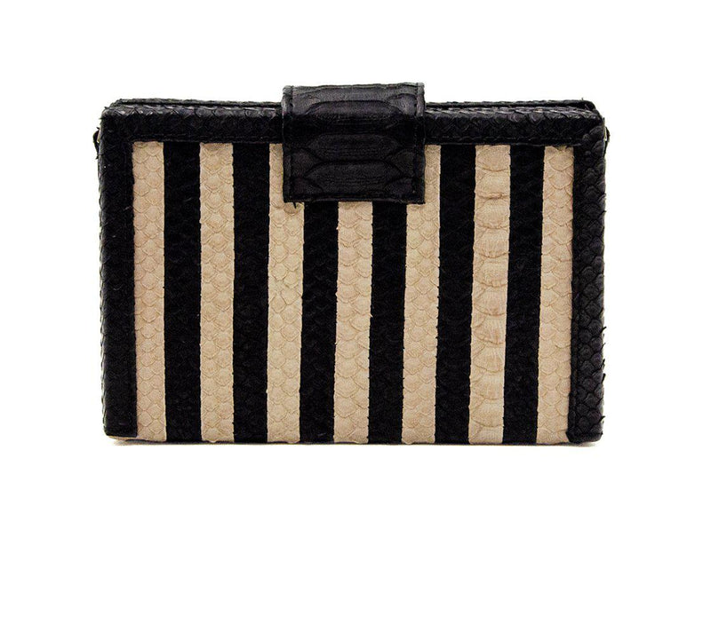 Mandolin - Striped Black/Cream-Box Bag-Ximena Kavalekas