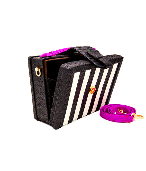 Mandolin 2.0 - Striped Black & White/Hot Pink