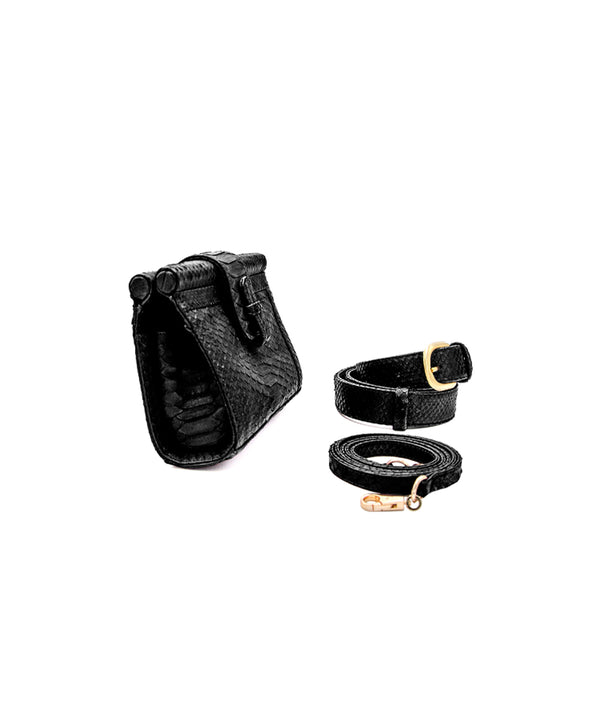 Carmen Fanny Pack in Black Shiny
