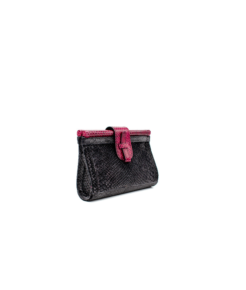 Carmen Fanny Pack Tessuto - Iridescent Black/ Fuschia Printed Leather