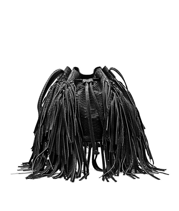 MJ Fringe Bucket Bag (Large) in Black