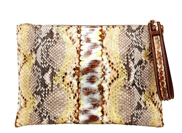 Avra V Zip Pouch - Cocoa Brown-Clutches-Ximena Kavalekas