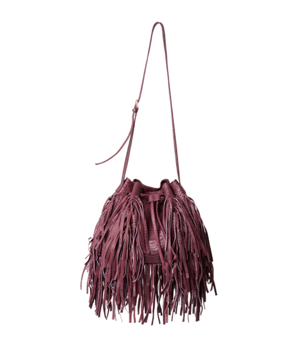 MJ Fringe Bucket Bag (Large) - Burgundy