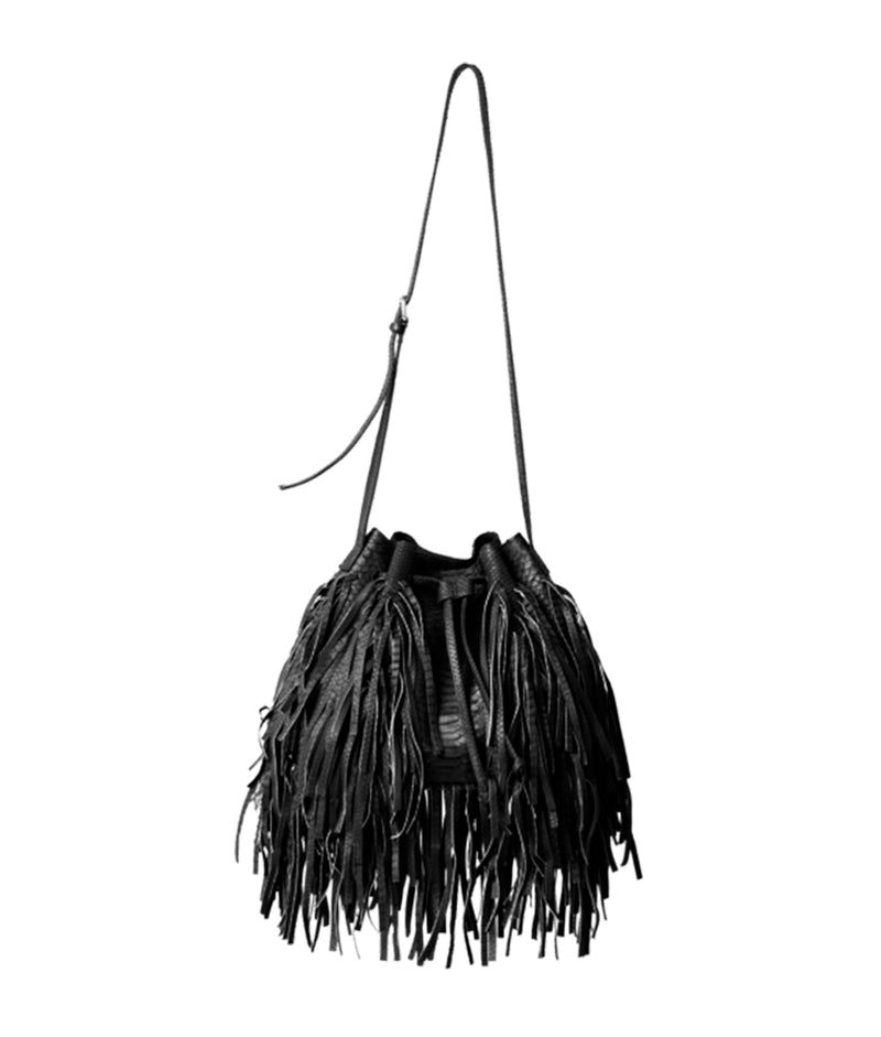 MJ Fringe Bucket Bag (Large) - Black