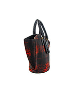 Abanico L (Tessuto) in Red Tartan/Leather Print