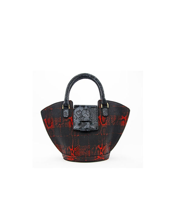 Abanico M Tessuto -Tartan Red/Leather Print