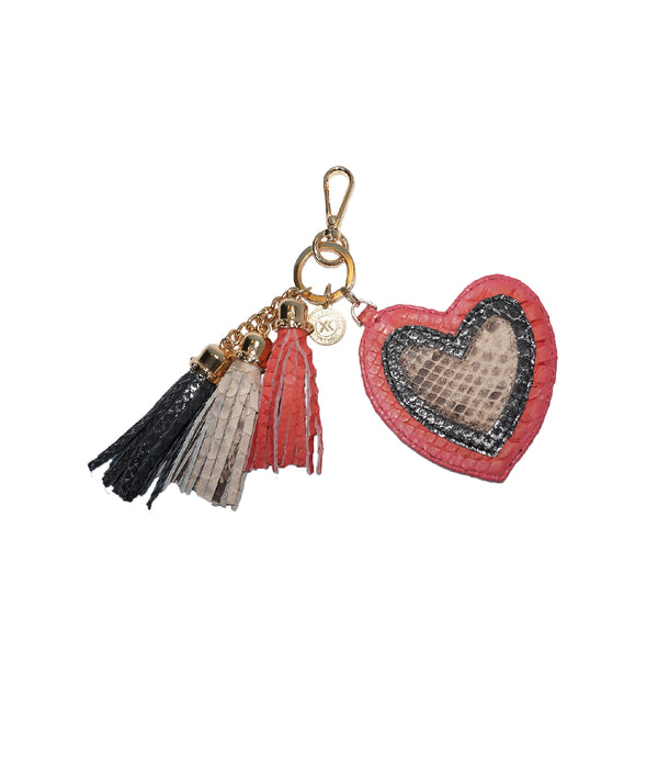 Heart Charm - Bubblegum/Black-Silver/Ivory Scaled