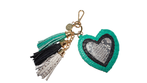 Heart Charm<br>Emerald/Black/Natural