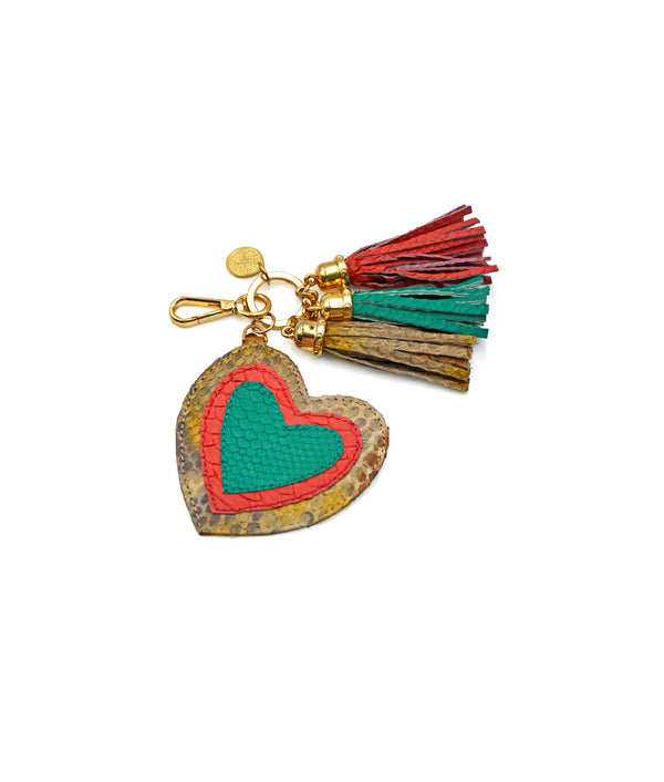 Heart Charm - Antique Gold/Bubblegum/Emerald