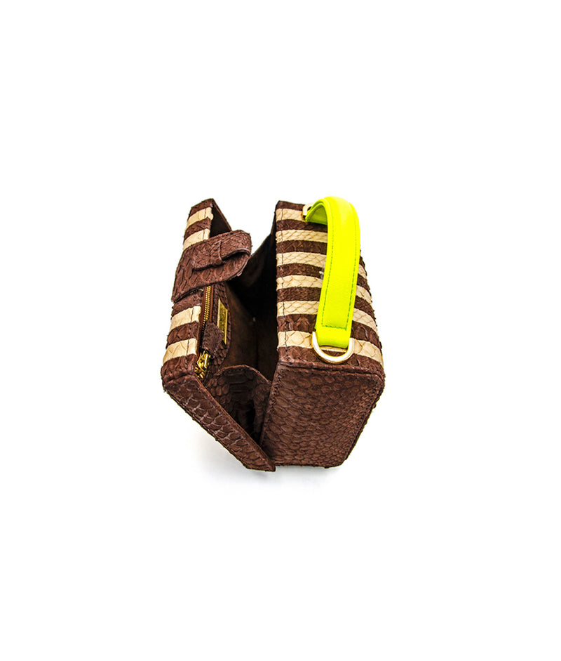 Caterina Small Stripes - Cream/ Chocolate Brown Striped Neon Yellow Leather