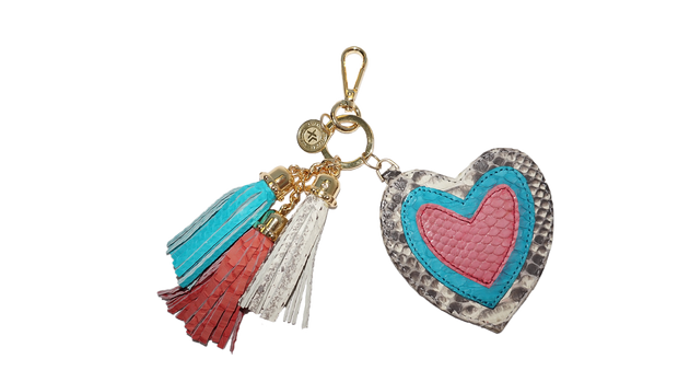 Heart Charm Natural/Turquoise/Bubblegum