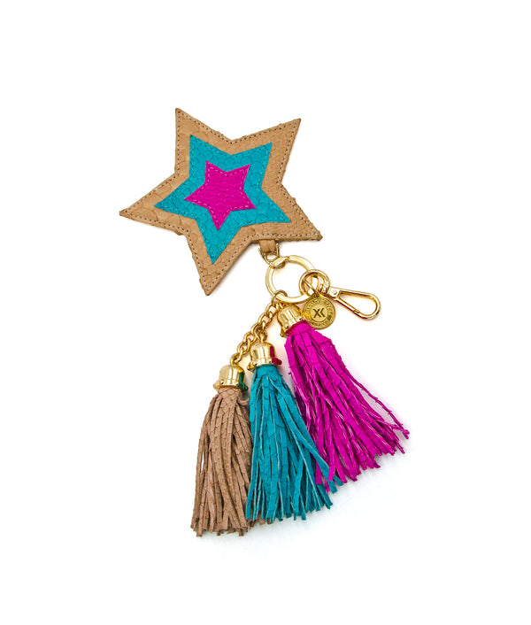 Star Charm - Nude/ Turquoise/ Hot Pink