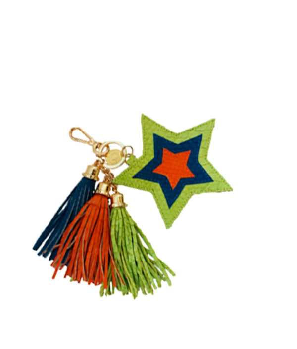 Star Charm - Lime-green/Royal Blue/Tangerine
