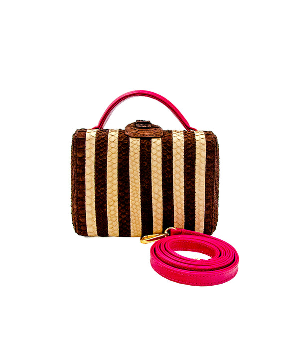 Caterina Small Stripes - Cream/ Chocolate Brown Striped Pink Leather