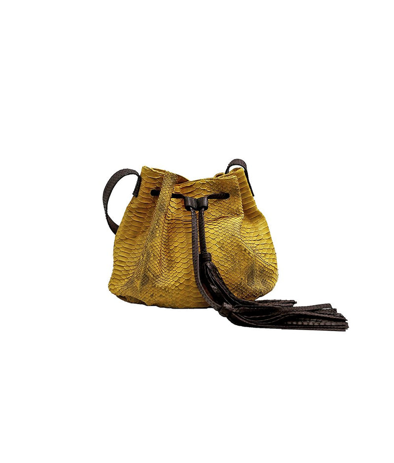 Ana Tassel in Yellow Scaled/Chocolate Brown
