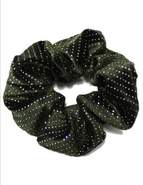 Green Velvet Studded Scrunchie