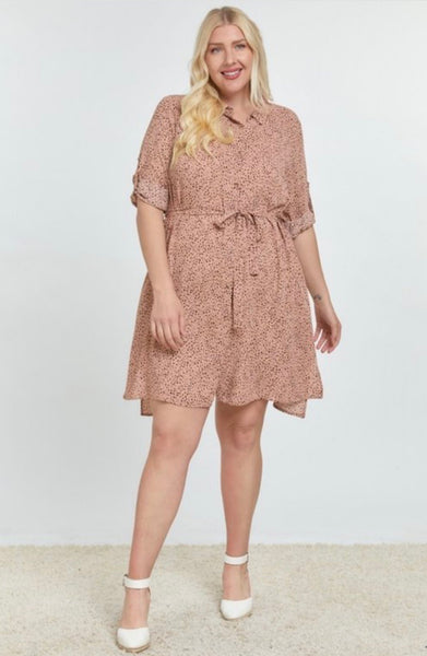 Taupe Dotted Dress