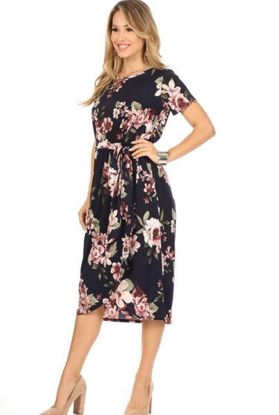 Navy/Mauve Floral Dress
