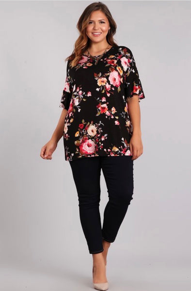 Black/Pink Floral Blouse