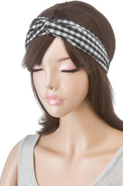 Black Plaid Headband