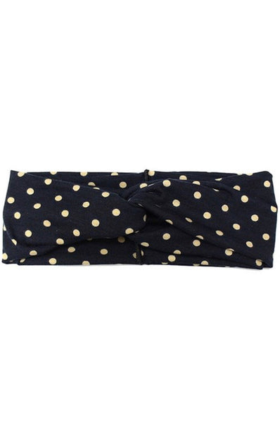 Black Polka Dot Knot Headband