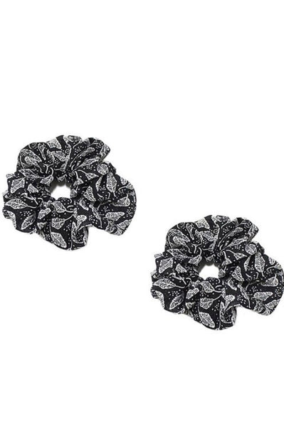 Black Leaf Scrunchie