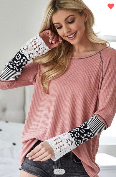 Rose Accent Sleeve Blouse