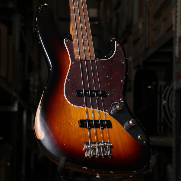 Fender 60th Anniversary Road Worn Jazz Bass Guitar in Sunburst with Case